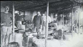 In the mess tent, Persian Front, Mesopotamia, 1917/18