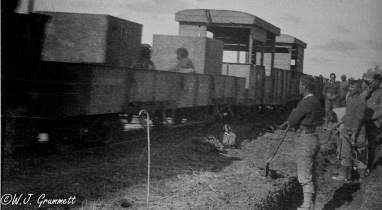 Light gauge rail moving men and material to the front, Mesopotamia, 1917/1918