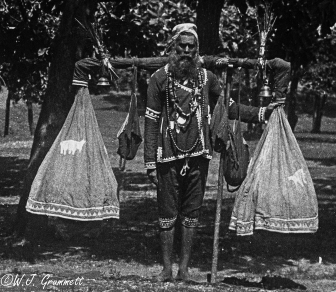 Man selling snacks (?) Ambala, India, 1918
