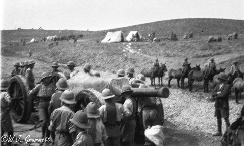 Temporary camp while moving the guns in pursuit of the enemy, Persian Front, Mesopotamia, 1917/18