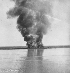 Fuel and ammunition dump set ablaze by retreating Turkish forces, Mesopotomia, 1918