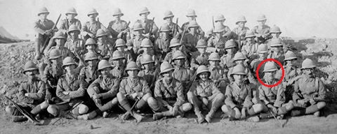 A platoon of the Norfolk Regiment, WJ Grummett commading, 1917/18