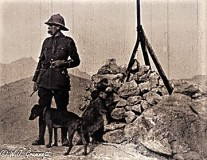 Will Grummett and friend, taking target practice on Barrack Hill, Quetta, India, 1917